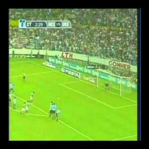 """Here is Uruguay scoring on Mexico while the Mexican team celebrates a goal. The rule was """"If all players are celebrating OFF the field and there is at least one player on the opposing teams field, you can kick off."""""""
