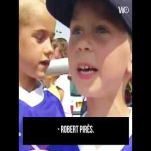 A young Antoine Griezmann asking for autographs from France's 1998 World Cup squad