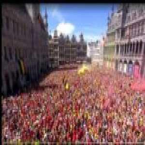 DJ Eden Hazard celebrating Belgium's best world cup result ever with the crowd in Brussels