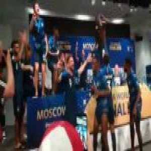 French team celebrating at the Press Conference