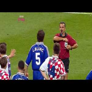 Bilic dive leading to Blanc's red card (France-Croatia 1998)