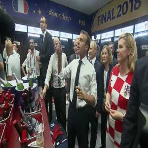 Putin got a champagne shower and Croatian president was cheered by French players after world cup final victory