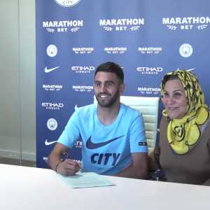 Riyad Mahrez brought his mom to his signing ceremony for Manchester City