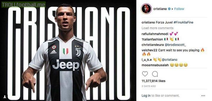Cristiano Ronaldo's Juventus announcement is the 4th most liked post in Instagram HISTORY with 11.4million likes.