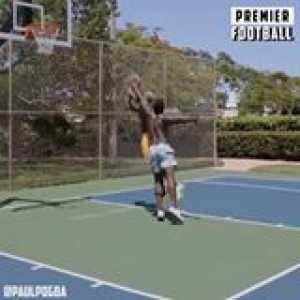 Paul Pogba and Romelu Lukaku playing basketball in Miami ☀️