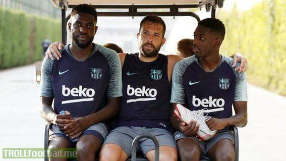 Alba taking Umtiti and Dembele to Messi's office to discuss that Kante song.. 😂