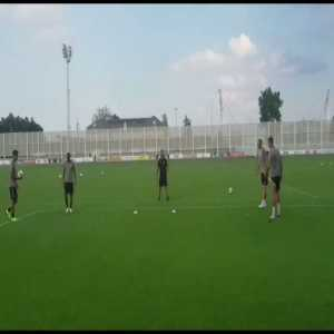 Ronaldo, Dybala, Douglas Costa and Bonucci playing soccer-tennis at the end of the training