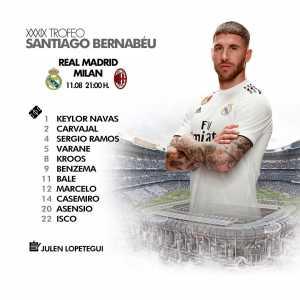 Real Madrid's line-up vs AC Milan for the Santiago Bernabéu Trophy