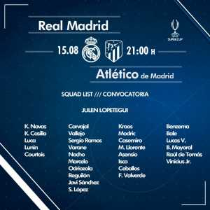 Real Madrid squad for the UEFA Super Cup vs Atletico Madrid
