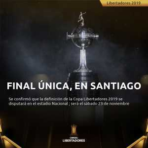 The 2019 Copa Libertadores final will be a single match held in Santiago, Chile