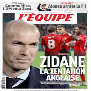 "Tomorrow's L'Equipe front page, ""Zidane, the temptation"""
