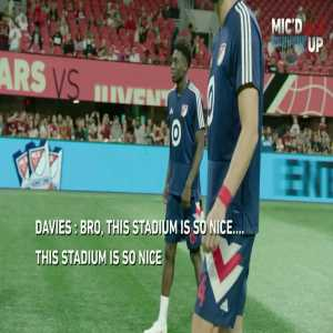 [Official MLS Twitter] Alphonso Davies mic'd up at MLS All Star game vs Juventus