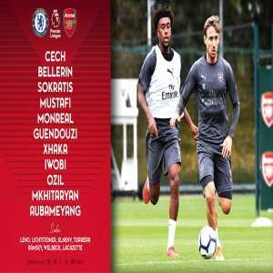 Arsenal's Starting XI vs Chelsea: Cech, Bellerin, Sokratis, Mustafi, Monreal, Guendouzi, Xhaka, Iwobi, Ozil, Mkhitaryan, Aubameyang