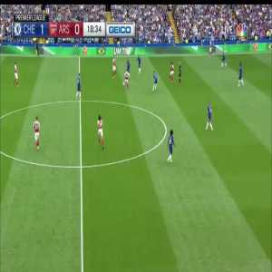 Aubameyang skies it after a great pass in from Mkhitaryan