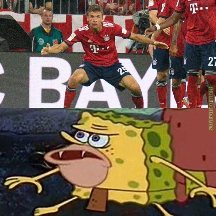 Thomas Muller be like 😂   🎩 h/t: Troll Football