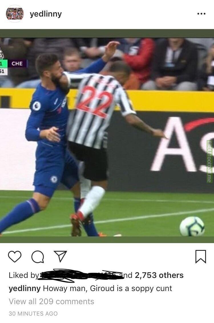 """Yedlin on Instagram: """"Giroud is a soppy cunt"""""""