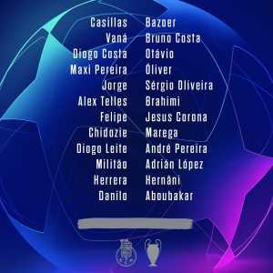 FC Porto squad for UEFA Champions League