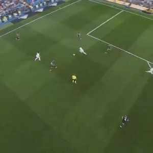 Aerial view of Real Madrid's combination goal against Leganés