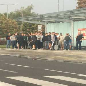 Danish National Team (consisting mostly of futsal players) is waiting on the public transport bus stop outside Bratislava airport. Tomorrow they play against Hamsik, Skrtel, Skriniar, Dubravka.