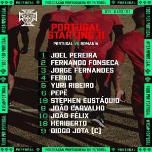 Portugal U21' Starting XI vs Romania