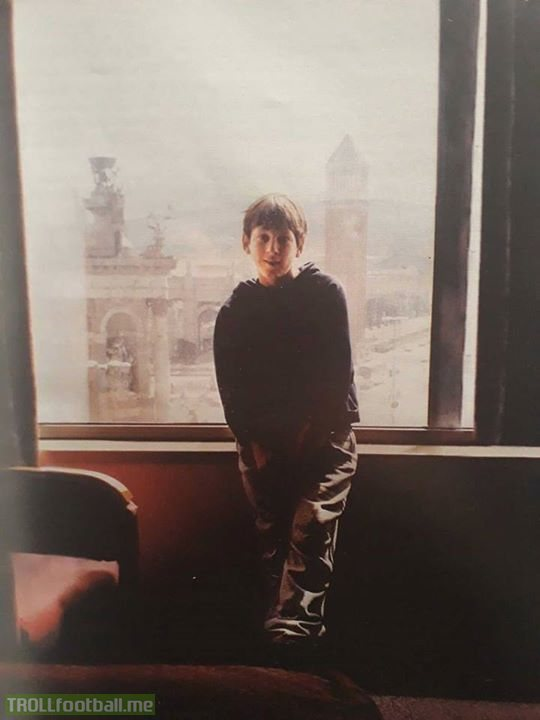 13 year old Lionel Messi on his very first day in the city of Barcelona... 👑🐐