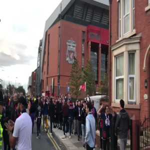PSG fans arriving at Anfield