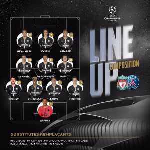 PSG Starting XI vs Liverpool