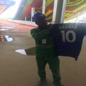A construction worker receives a Hazard jersey after being ridiculed online for assuming a Twitter user was Hazard (because of his username) and meeting a demand the user requested in order to receive the player's jersey.