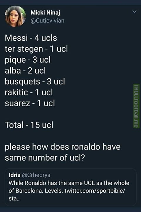 Barcelona Has 15 UCL Trophies, How Many UCL Trophies Do You Have Cristiano Ronaldo!😏😂