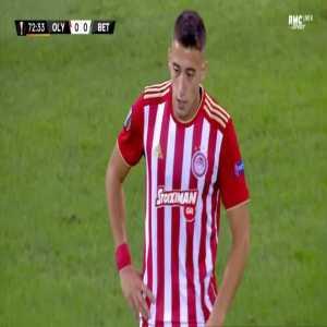 Konstantinos Tsimikas (Olympiakos) second yellow card against Betis 73'