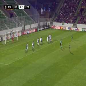 Ludogorets 1-0 Leverkusen - Claudiu Keseru free-kick 8'