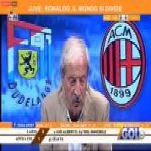 Milan fan and journalist Tiziano Crudeli reacts to Gonzalo Higuain's game winner vs Dudelange