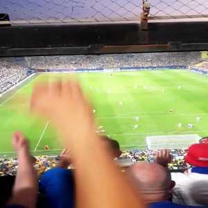 Rangers fans celebrate equaliser against Villarreal (FT: 2-2)