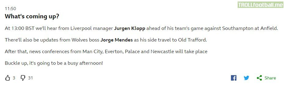 "BBC's live text with a freudian slip - ""there'll also be updates from Wolves boss Jorge Mendes as his side travel to Old Trafford."""