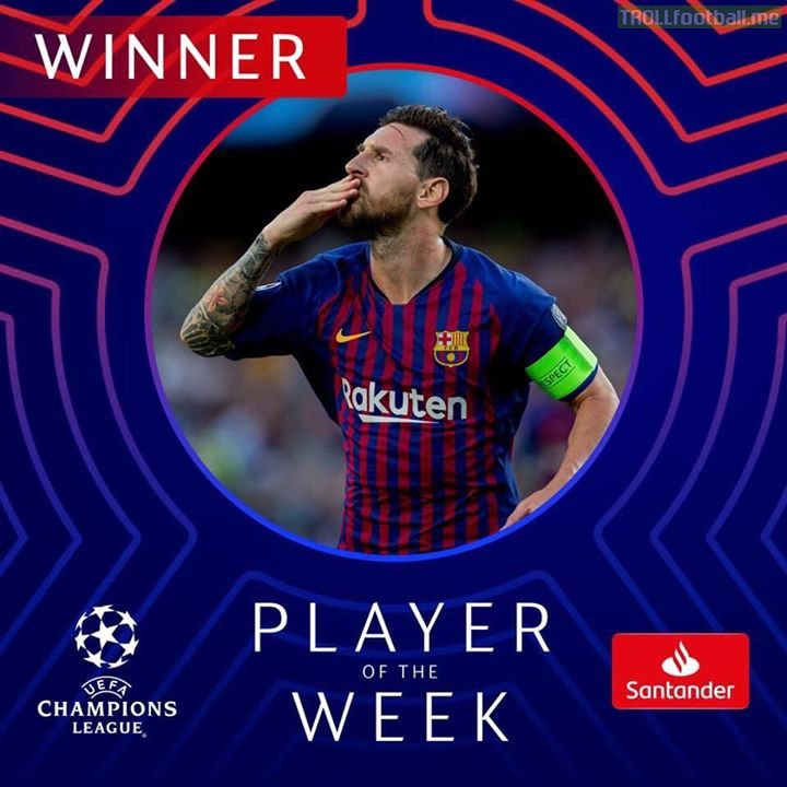 Messi becomes UEFA player of the week .  Please comment JusticeForCRy7 to make Ronaldo win this 😭😡 . JwT