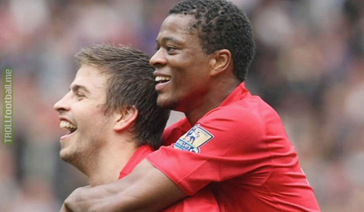 """Patrice Evra:   """"They did a prank on me and I didn't like it. They burned my trainers. It wasn't funny and actually it was Gerard Piqué. So what I did to him, I take his shoes and I go in the toilet and I poo inside of them.""""  😂😂😂"""