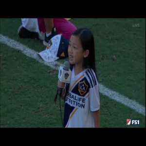 This 7 year old girl sings the American anthem in the LA Galaxy game in an impressive way