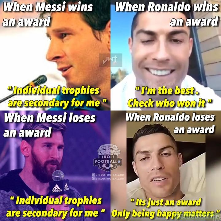 d0e16c3f7b49 Messi and Ronaldo in a meme. . JwT