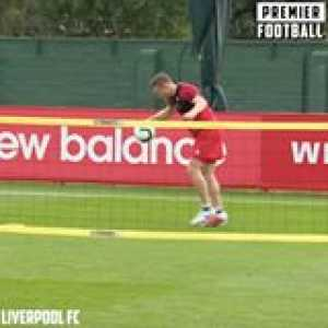 Liverpool players play football tennis in training! 🎾  Salah, Trent and Robertson 🆚  Keita, Milner and Gini