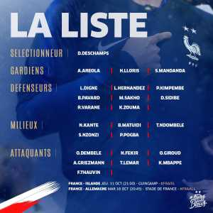 France squad for matches against Iceland and Germany