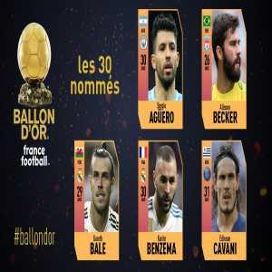 These are the first nominees for the 2018 Ballon d'Or France Football! 🇦🇷Sergio Agüero ▶ @aguerosergiokun 🇧🇷Alisson Becker ▶ @Alissonbecker 🏴Gareth Bale ▶ @GarethBale11 🇫🇷Karim Benzema ▶ @Benzema 🇺🇾Edinson Cavani ▶ @ECavaniOfficial 5/30 #ballondor