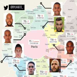 7 of the 14 players who played in Algeria's last game plus the team coach were born or raised in the Paris region