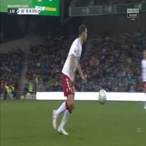 Jeff Hendrick misses a sitter for Ireland, as Denmark tries to kick the ball out of play due to an Irish injury. Results in a scrap.