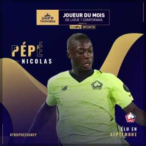 "Nicolas Pépé is Ligue 1's ""player of the month"" for the month of September"