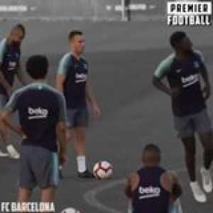 Barcelona freekick practice ☄️  Obviously the 🐐 scores his!