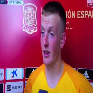 "Jordan Pickford on Spain's penalty appeal: ""There might have been a little nudge, but if you look back I get an elbow right in me dish as well"""