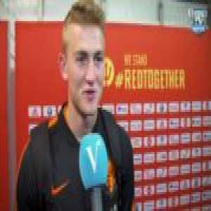 """Matthijs de Ligt is asked if Lukaku irl is the same as watching him on YouTube. """"For the most part, yes."""" is his answer"""