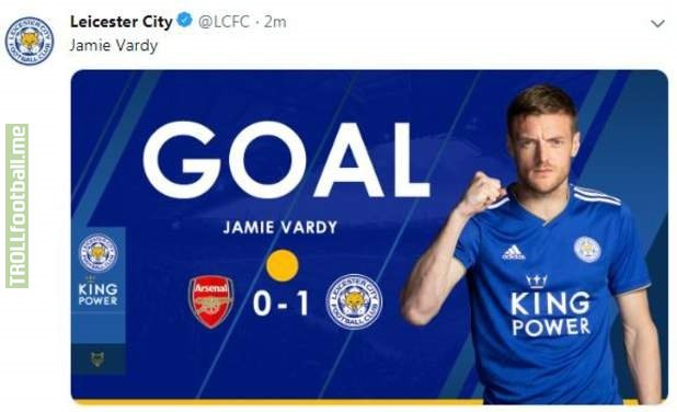 This was posted on Leicester's twitter earlier and hastily removed. Obviously just an innocent mistake but if Vardy puts Leicester 1-0 up the conspiracy theoriests will be out in numbers!