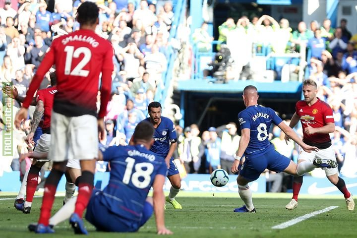 Chelsea Football Club 2-2 Manchester United   Astonishing drama as Ross Barkley scores six minutes into added time to preserve the Blues' unbeaten Premier League record