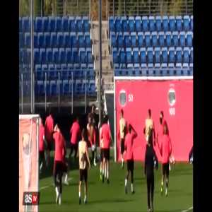 'Captain' Sergio Ramos kicks away multiple footballs out of anger in today's training session.